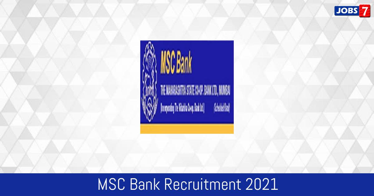 MSC Bank Recruitment 2021:  Jobs in MSC Bank   Apply @ www.mscbank.com