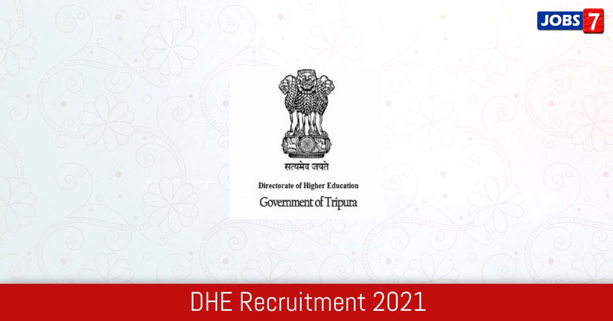 DHE Recruitment 2021:  Jobs in DHE   Apply @ highereducation.tripura.gov.in