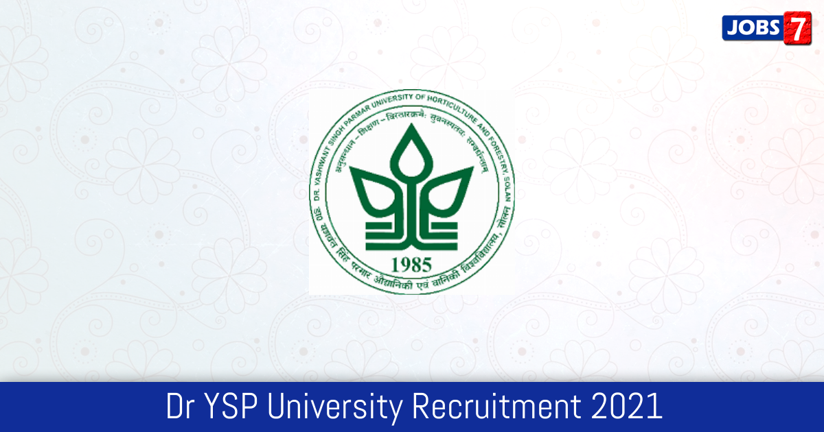 Dr YSP University Recruitment 2021:  Jobs in Dr YSP University | Apply @ www.yspuniversity.ac.in