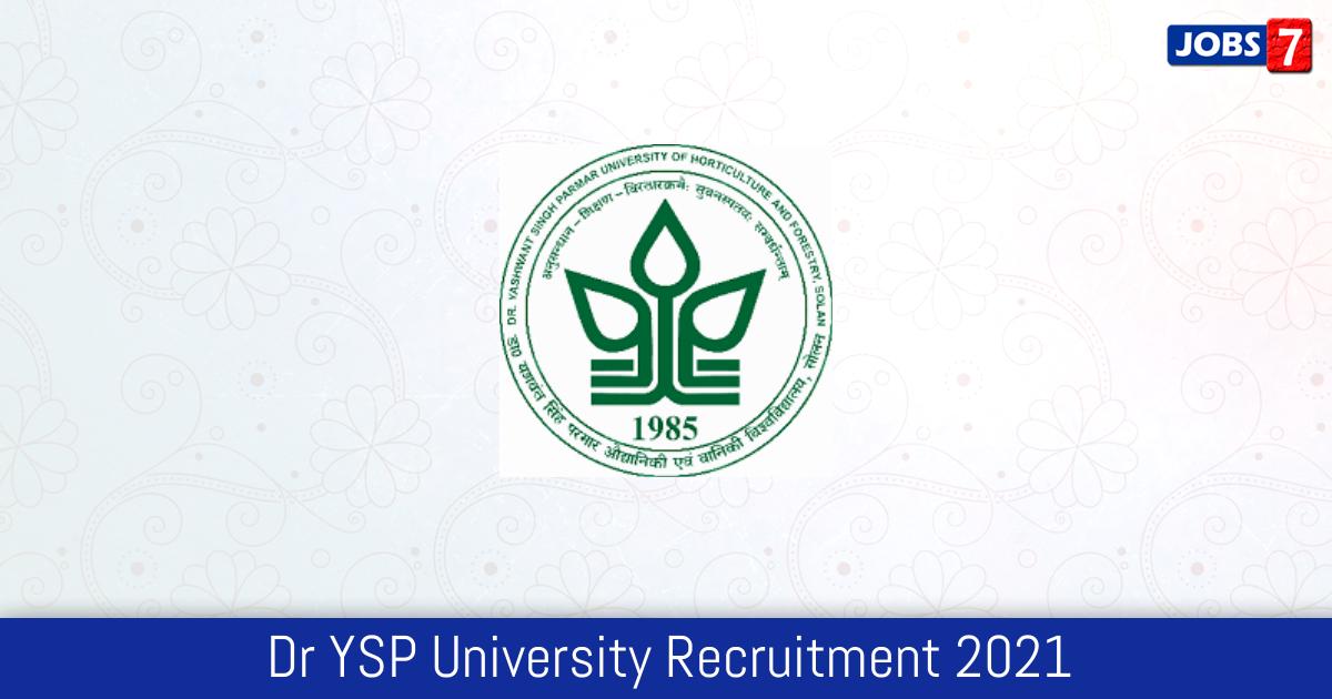 Dr YSP University Recruitment 2021:  Jobs in Dr YSP University | Apply @ www.yspuniversity.ac.in