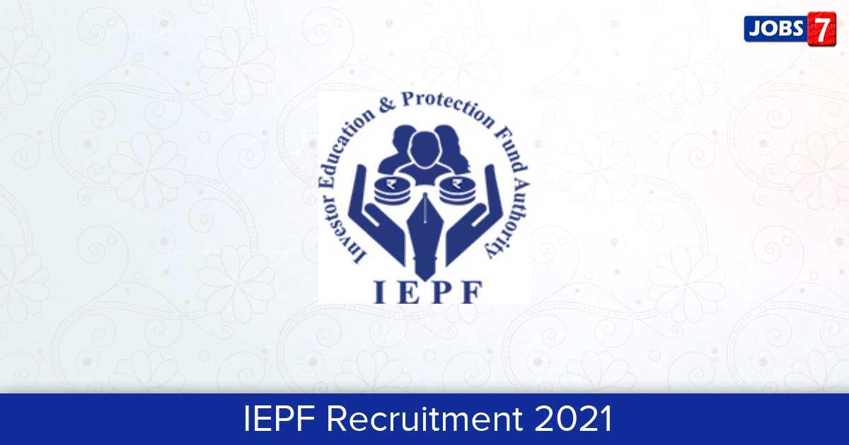 IEPF Recruitment 2021:  Jobs in IEPF | Apply @ www.iepf.gov.in