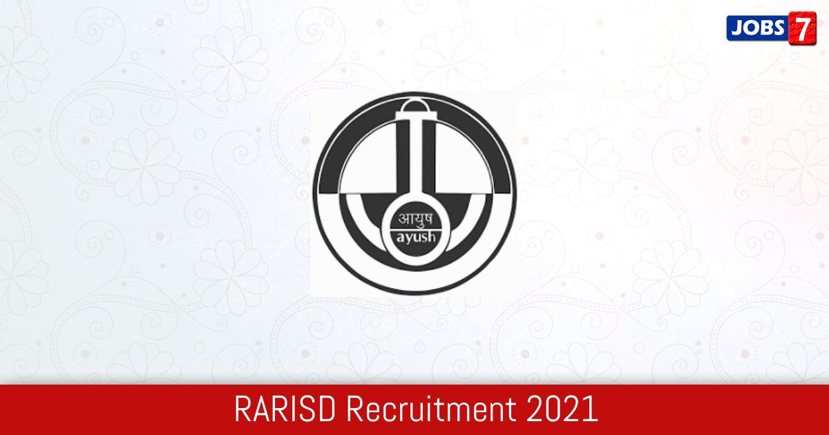 RARISD Recruitment 2021:  Jobs in RARISD   Apply @ www.ccras.nic.in