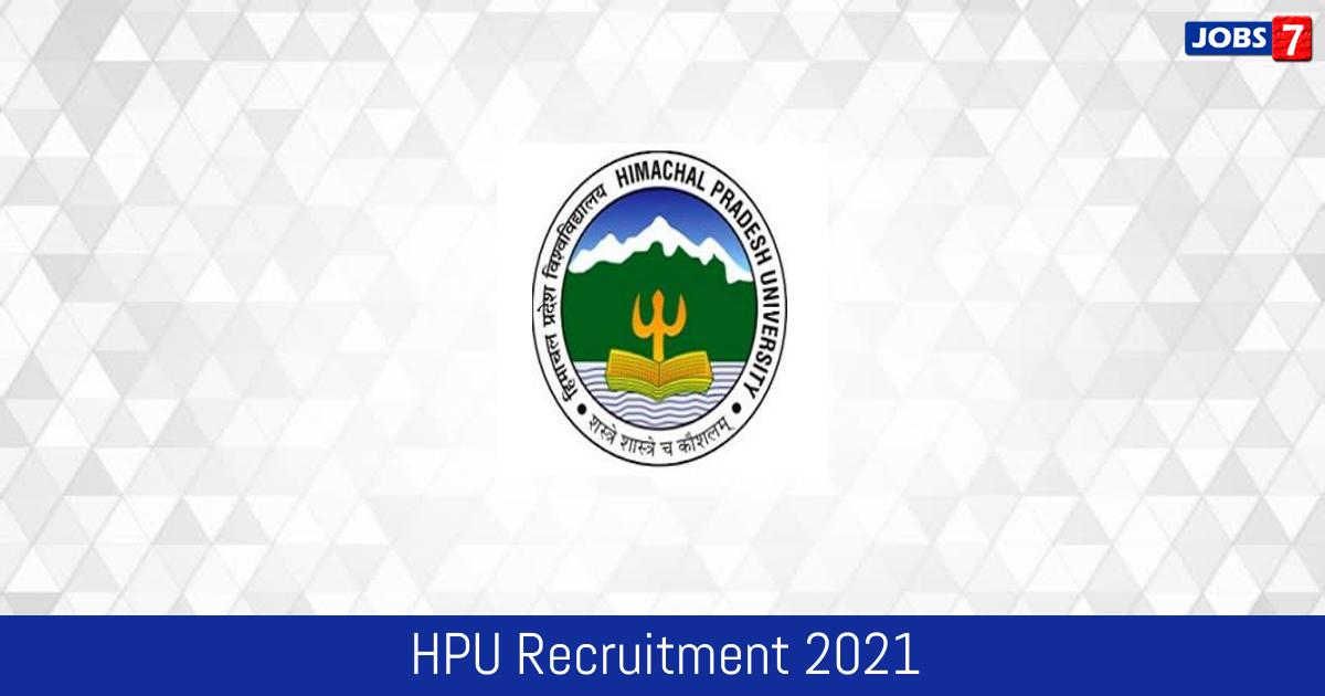 HPU Recruitment 2021:  Jobs in HPU | Apply @ www.hpuniv.ac.in