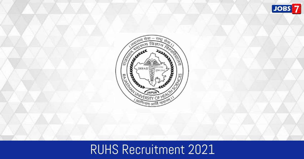 RUHS Recruitment 2021:  Jobs in RUHS   Apply @ www.ruhsraj.org