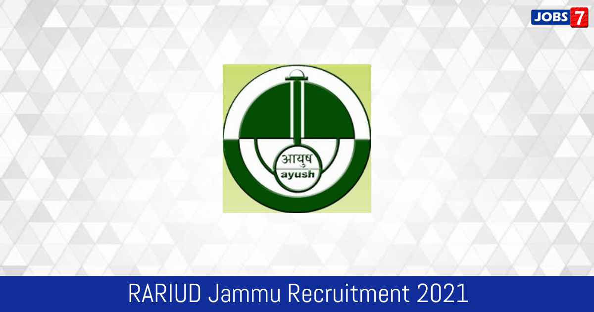 RARIUD Jammu Recruitment 2021:  Jobs in RARIUD Jammu | Apply @ ccras.nic.in