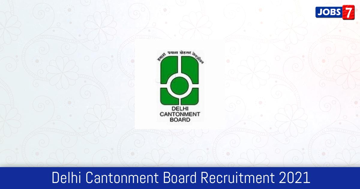 Delhi Cantonment Board Recruitment 2021:  Jobs in Delhi Cantonment Board | Apply @ www.cbdelhi.in
