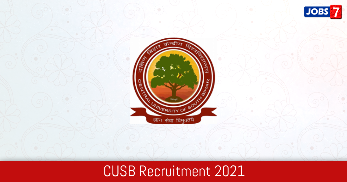 CUSB Recruitment 2021:  Jobs in CUSB | Apply @ www.cusb.ac.in
