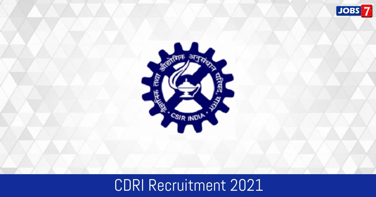 CDRI Recruitment 2021: 16 Jobs in CDRI | Apply @ cdri.res.in