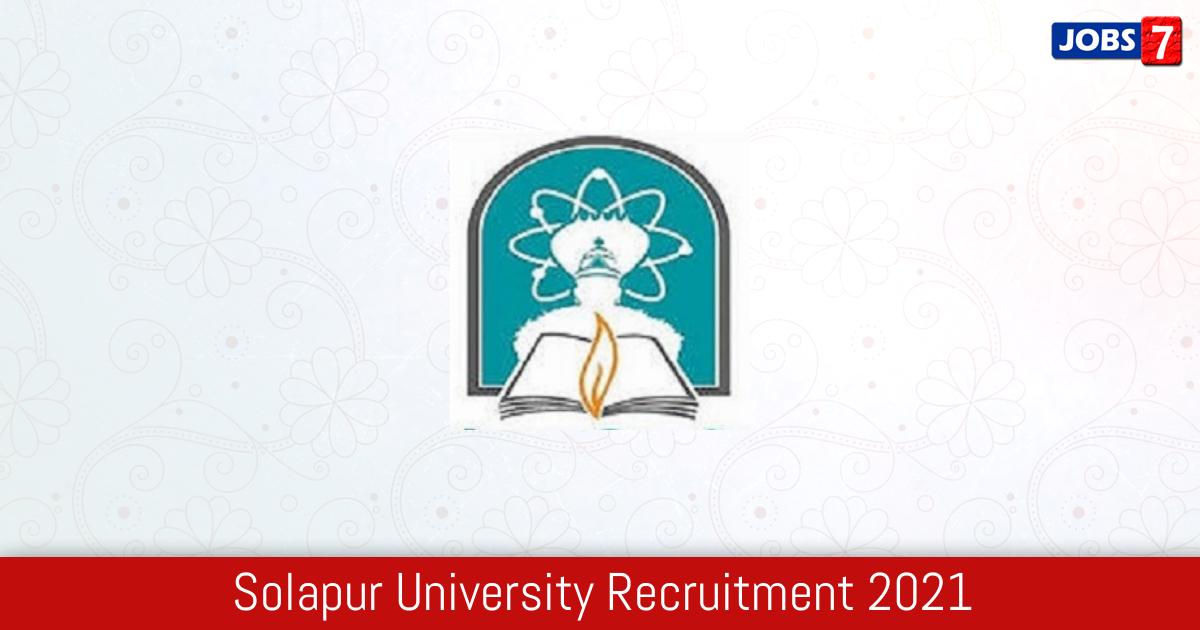 Solapur University Recruitment 2021:  Jobs in Solapur University   Apply @ su.digitaluniversity.ac