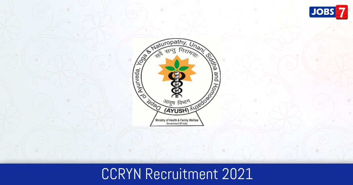 CCRYN Recruitment 2021:  Jobs in CCRYN   Apply @ ccryn.gov.in
