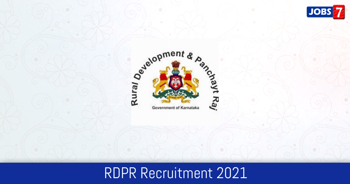 RDPR Recruitment 2021: 154 Jobs in RDPR | Apply @ rdpr.kar.nic.in