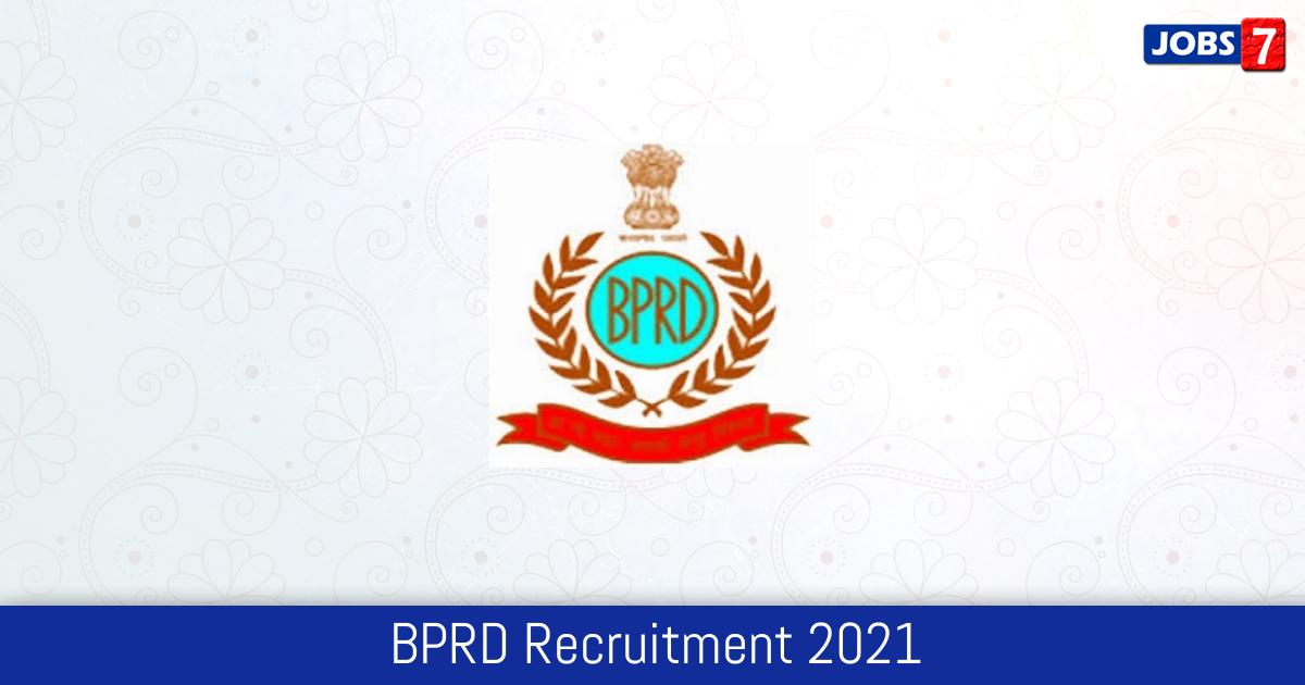 BPRD Recruitment 2021: 240 Jobs in BPRD | Apply @ bprd.nic.in