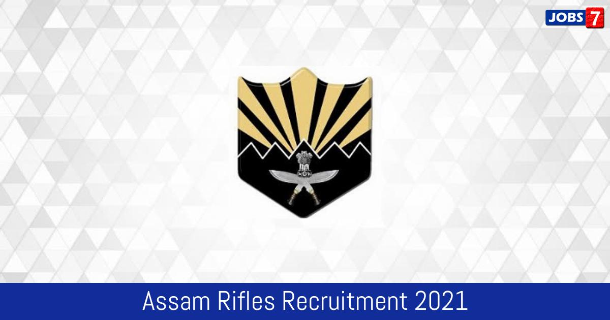 Assam Rifles Recruitment 2021: 265 Jobs in Assam Rifles | Apply @ assamrifles.gov.in