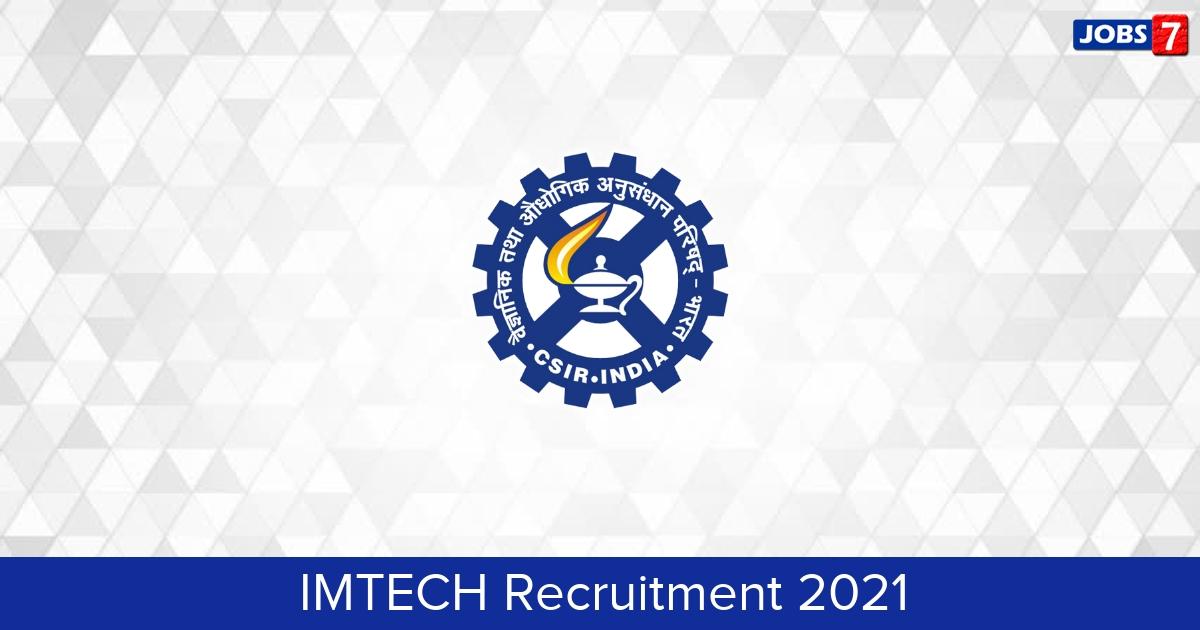 IMTECH Recruitment 2021:  Jobs in IMTECH   Apply @ www.imtech.res.in