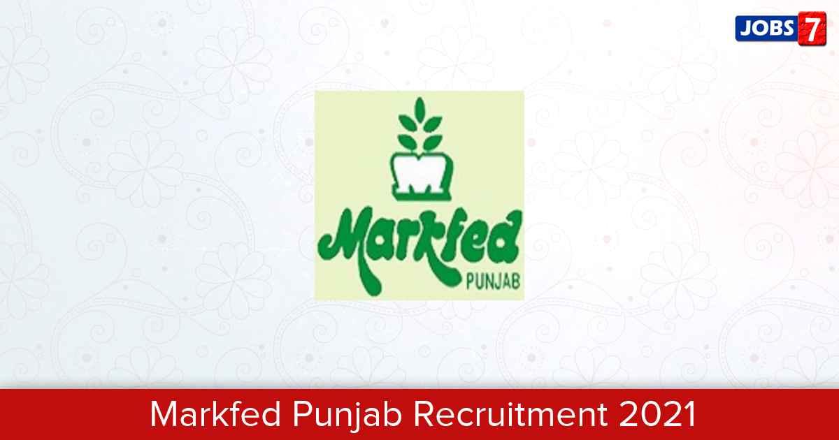 Markfed Punjab Recruitment 2021:  Jobs in Markfed Punjab   Apply @ www.markfedpunjab.com