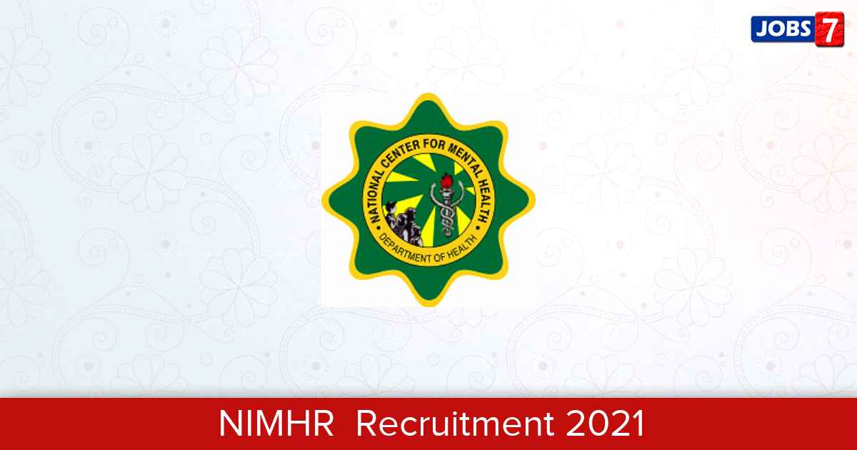NIMHR  Recruitment 2021:  Jobs in NIMHR    Apply @ nimhr.ac.in